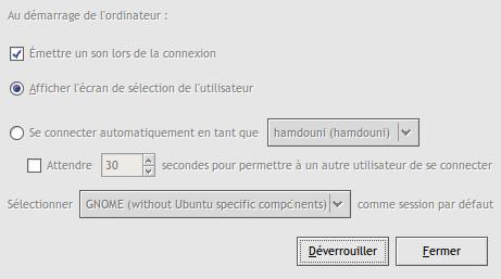 Paramètres de la fenêtre de connexion